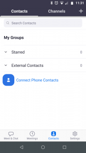 Zoom Contacts screen